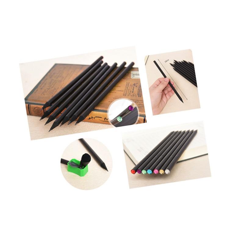 Zwart houten potlood HB met diamant