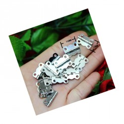 40 x Mini metal hinge, silver color (16mm x 13mm)