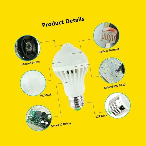 E27 led lamp met bewegingssensor, 9W koelwit