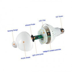 Lamp with motion detection, white light
