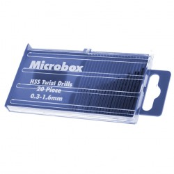 Box with micro hss drill bits 0.3 - 1.6 mm