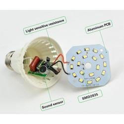 E27 LED-Lampe mit Tonsensor (9 Watt)