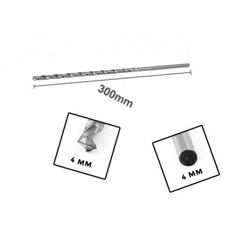Metal drill bit extreme length (4.0x300 mm!)
