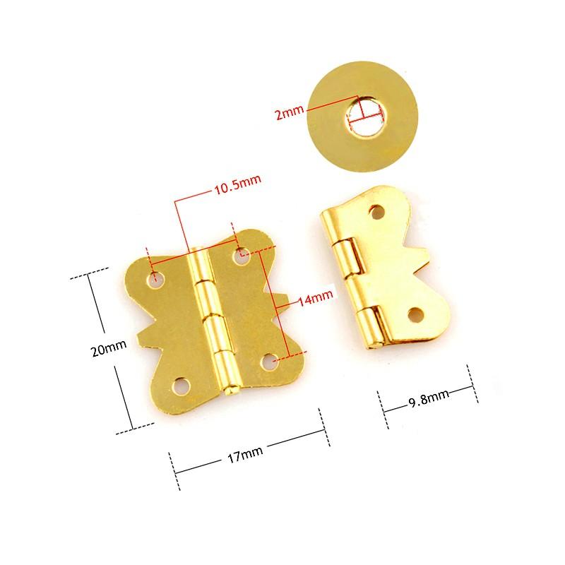 Mini metal hinge (20mm x 17mm), gold color