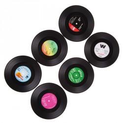 Retro vinyl elpee onderzetters (6 stuks)