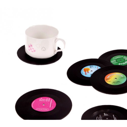Retro music record coasters (6 pieces)