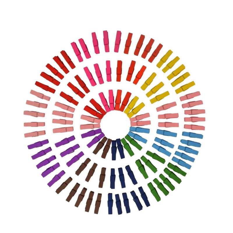 100 stuks gekleurde micro wasknijpers (25 mm)