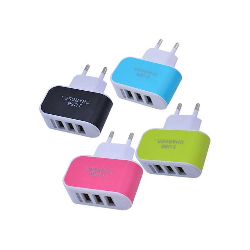 Triple port USB charger, 3.1A, green