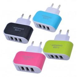 Triple port USB charger, 3.1A, orange