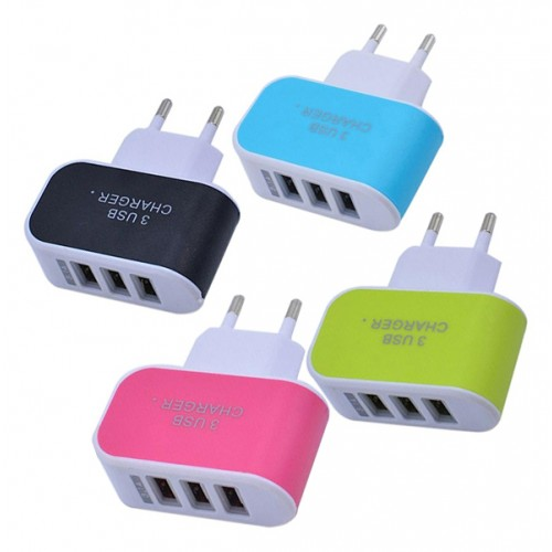 Triple port USB charger, 3.1A, blue