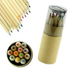 12 mini kleurpotloden met puntenslijper voor kinderen