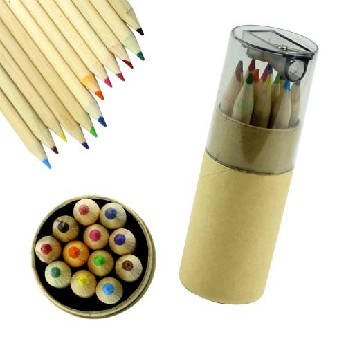Mini-Farb-Bleistifte mit Anspitzer, 8.5 cm in der Hülse (12 Stück)