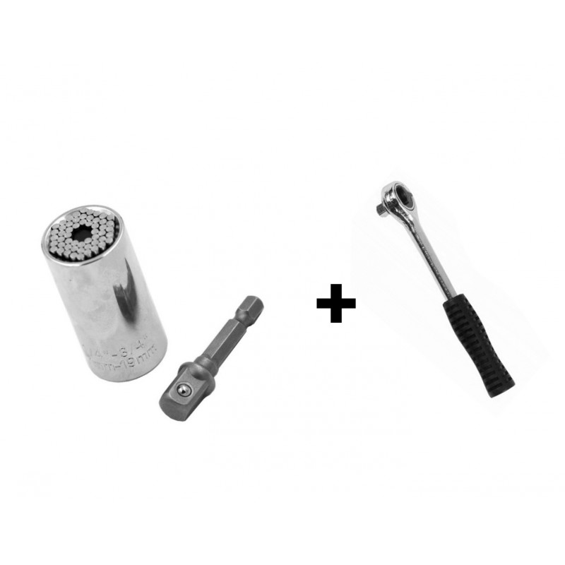 Set: gator grip 7-19mm (universal wrench plus ratchet)