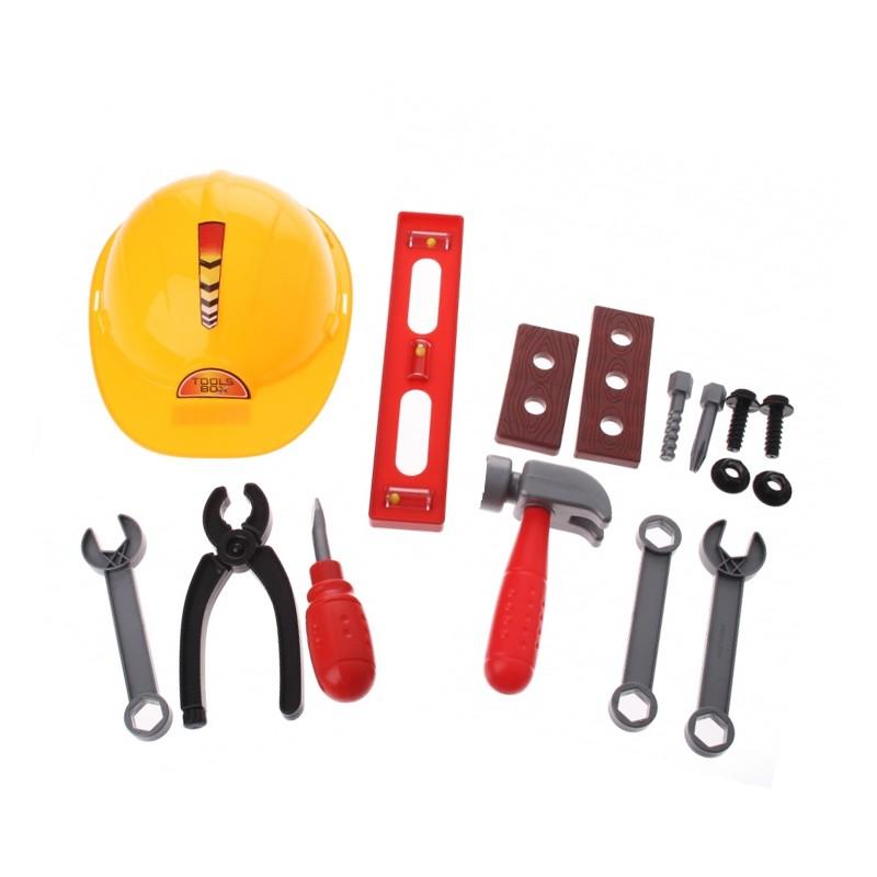 Speelgoed gereedschapset met helm (voor 3+)