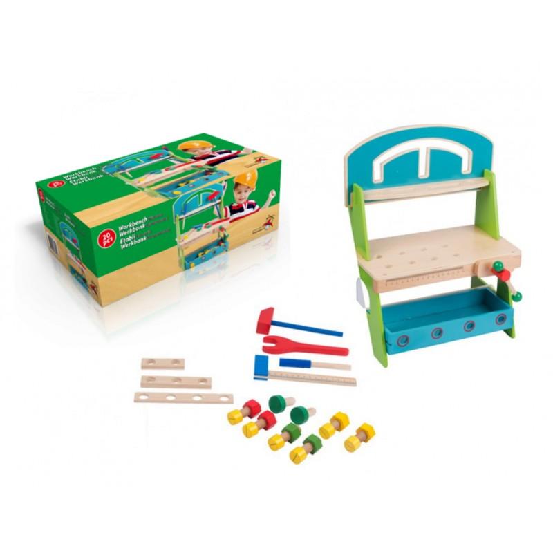 Holzwerkbank mit Werkzeug (20 Stück)