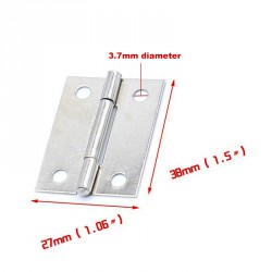 20 x Small metal hinge, silver color (27mm x 38mm)
