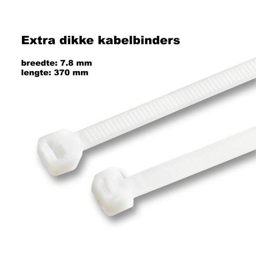 Dikke tie wraps (kabelbinders) 7.8x370mm WIT