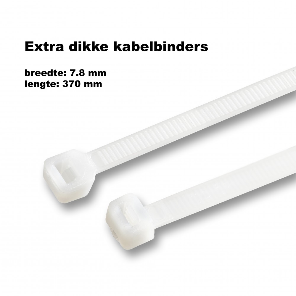 Dikke tie wraps (kabelbinders) 7.8x370mm WIT - Wood and Tools