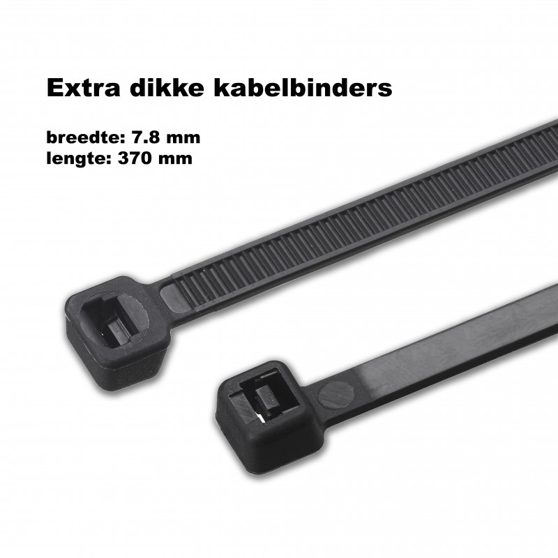 Dikke, grote tie wraps (kabelbinders) 7.8x370mm ZWART