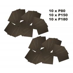 Abrasive paper, 30 sheets (P80, P150, P180)