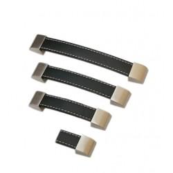 Set of 4 black leather handles, 128 mm