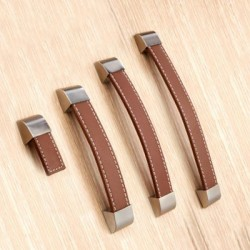 Set of 4 brown leather handles single hole