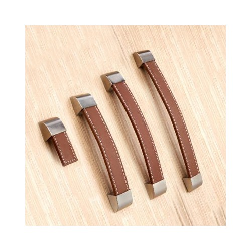Brown leather handle 128 mm