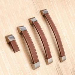 Set van 4 bruin lederen handgrepen 192 mm