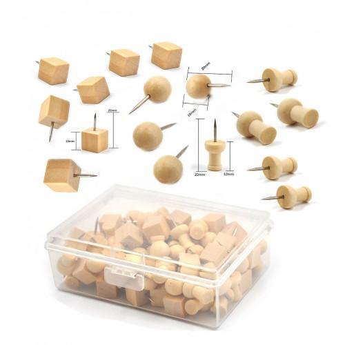 Leuke set houten punaises, 3 soorten in doosje