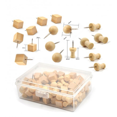 Wooden push pins in box (3 types)