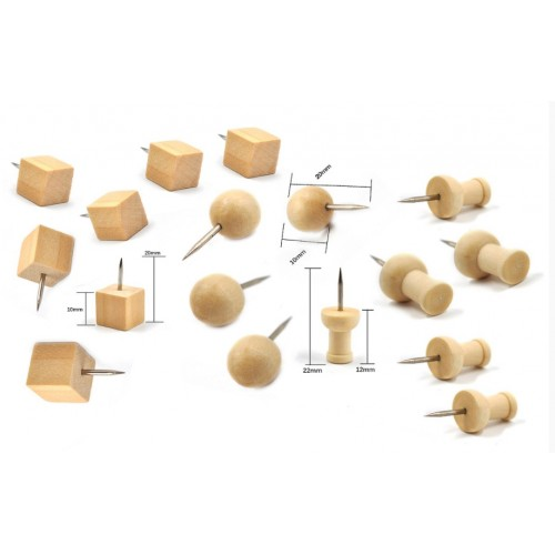 Leuke set houten punaises, 3 soorten, 60 stuks