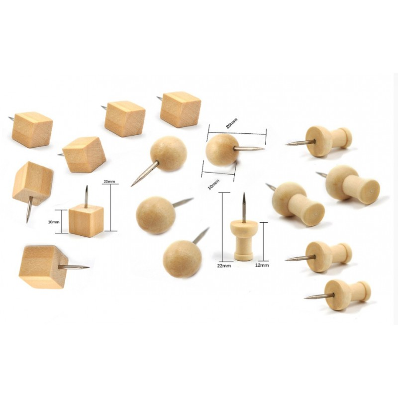 Wooden push pins in box (3 types, 60 pieces)