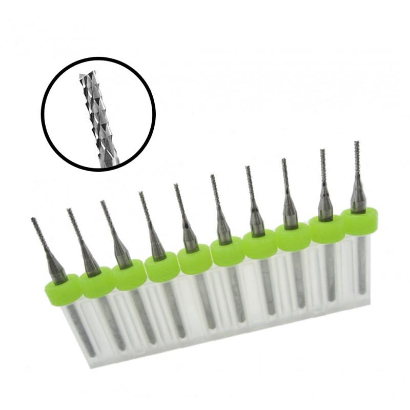 Micro fishtail frezen set 11 (0.6 mm, 10 stuks)