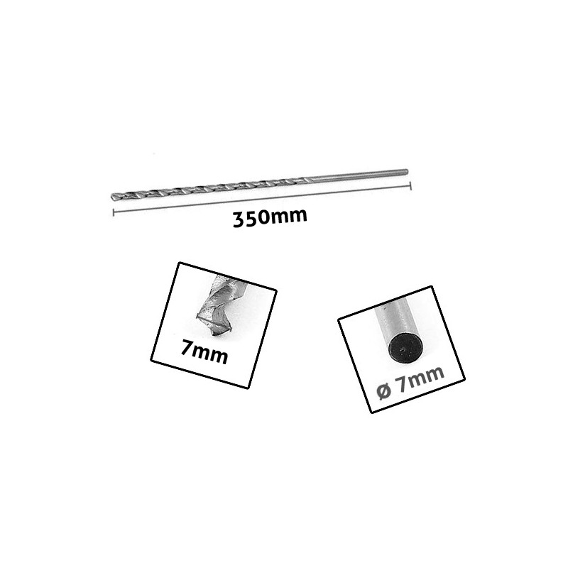 Metal drill bit 7mm extreme length (350mm!)