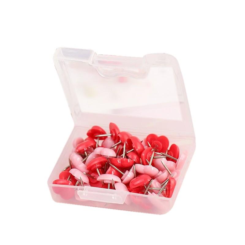 Push pins hearts: pink and red, 48pcs