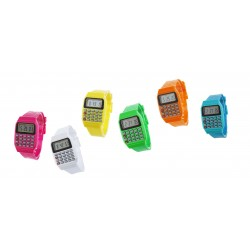 Opvallend retro horloge met rekenmachine: geel