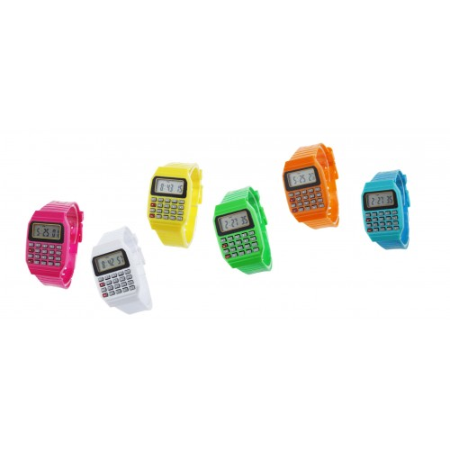 Opvallend retro horloge met rekenmachine: roze