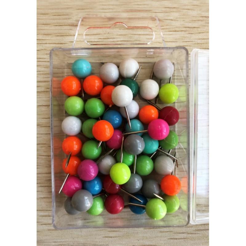 Gekleurde punaises: bolkop, in doosje, 50 stuks (mix)