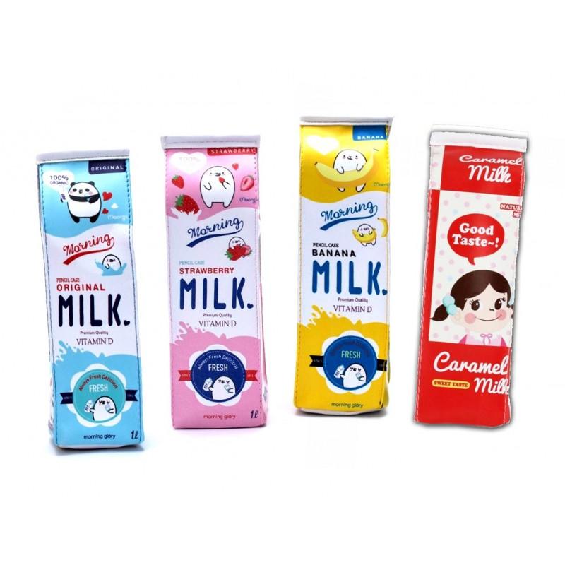 Lustiges Etui (Milchkarton) für Arbeit und Schule: blau