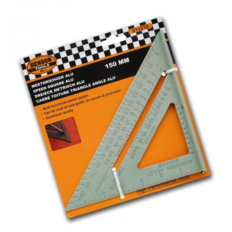 Stevige geodriehoek, gradenboog en meetlat (aluminium), 150mm