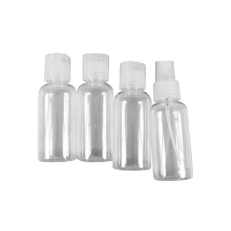 Reiseflaschen, 4-teiliges Set mit Druck- und Sprühkappe