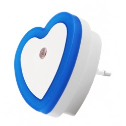 Nightlight with light sensor (220v, heart, blue)