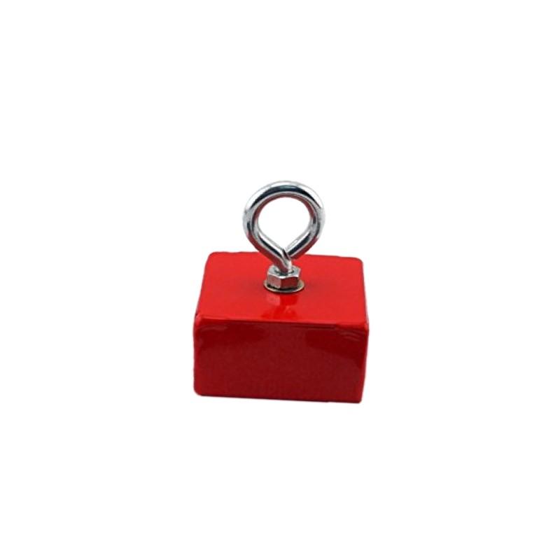 Magnetischer Haken / Hakenmagnet, rot, mit Öse