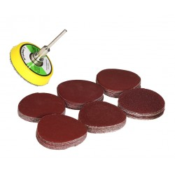 Set of 60 sanding discs, holder and adapter