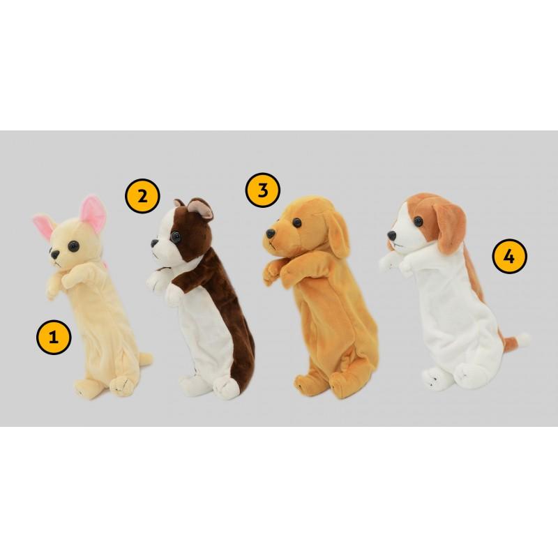Grappig etui (hond) voor werk en school: lichtbruin