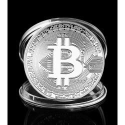 Bitcoin Münze, silberfarben, in Aufbewahrungsbox