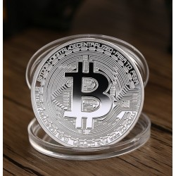 Bitcoin munt, zilver