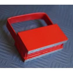 Magnetischer Haken / Hakenmagnet, rot, mit Griff