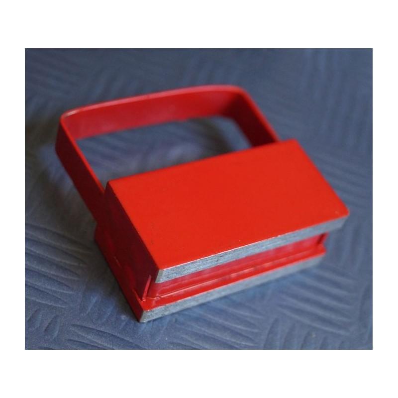 Magneethaak / haakmagneet, rood, met handvat