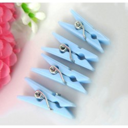 100 pieces blue mini clothes pins plastic (9x25 mm)